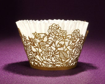 25 STANDARD size Rose Vine Laser Cut Cupcake Wrappers from Paper Orchid - Choose from 10 stock colors