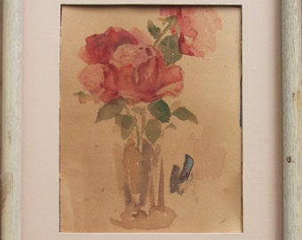 ROSE WATERCOLOR PAINTING-Original-Vintage Shabby Chic