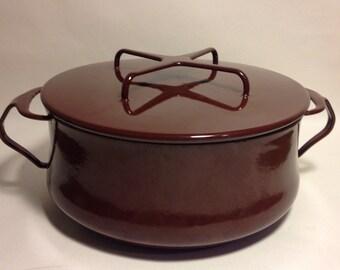Dansk Kobenstyle Dutch Oven Enamel Metal Pot Chocolate Brown ICQ France