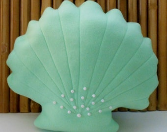 Scallop shell pillow with pearl beads ,nautical decor,sealife,accent  pillow,beach decor,mint green shell pillow, beach pillows
