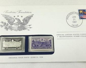 U.S. Constitution stamp, Mailing Envelope, Franklin Mint Silver Ingot Bicentennial Collectible