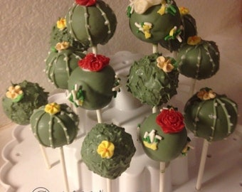 12 Desert Cactus cake pops, Garden Party, Flowering cactus