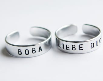 Custom ring in silver - promise ring - Your inscription