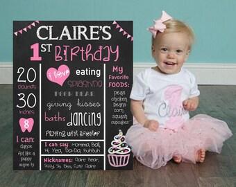 First birthday sign, chalkboard birthday sign, girl birthday sign, pink birthday sign, chalkboard birthday print