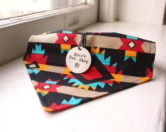 Tribal Dog Bandana with Space for Tags, Handmade Dog Scarf w ID Tag Slot, Dog Accessories, Velcro Over Collar, Southwest Navajo Aztec Native