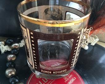 Roaring Twenties Whiskey Glass Wedding Centerpiece Mary Pickford Gold Leaf Speakeasy Style Art Deco 1920s Hollywood Film Stars Rocks Tumbler
