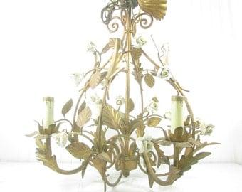 Vintage tole Chandelier, Shabby chic Chandelier, hanging light, vintage light,gold guild gilt,  Italian tole,french decor,lighting,