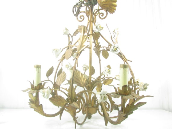vintage tole chandelier shabby chic chandelier hanging