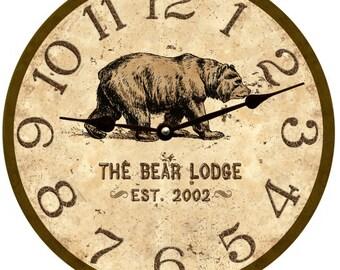 Bear Lodge Clock- Personalized Bear Clock