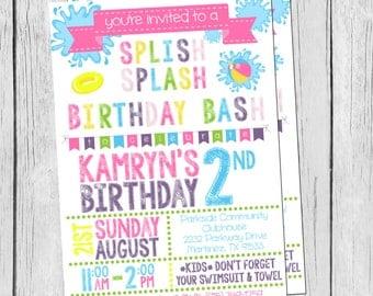 DIY/PRINTABLE 5X7 Splish Splash Birthday Invitation