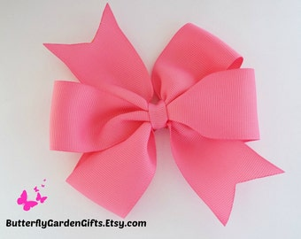 Hot pink pinwheel hair bow clip
