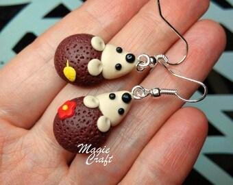 Hedgehog Earrings - Handmade in Polymer Clay