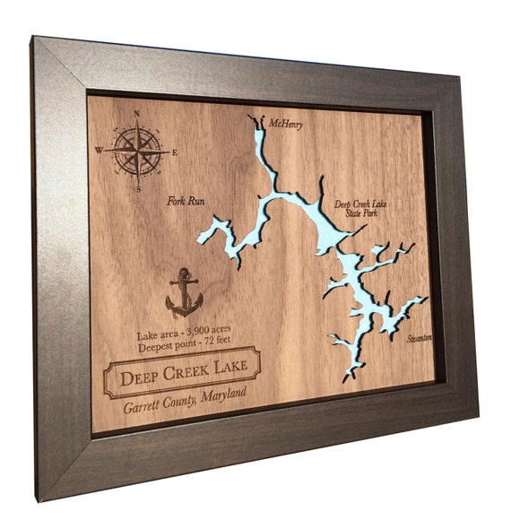 5th Wedding Anniversary Gift Ideas: 5th Anniversary Gift Laser Cut Wood Lake Map Any Lake Wood