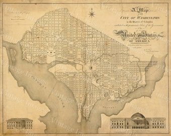 Washington DC Map Antique Restoration Hardware Style Map of the District of Columbia Map of Washington DC Large Wall Map of The Capitol