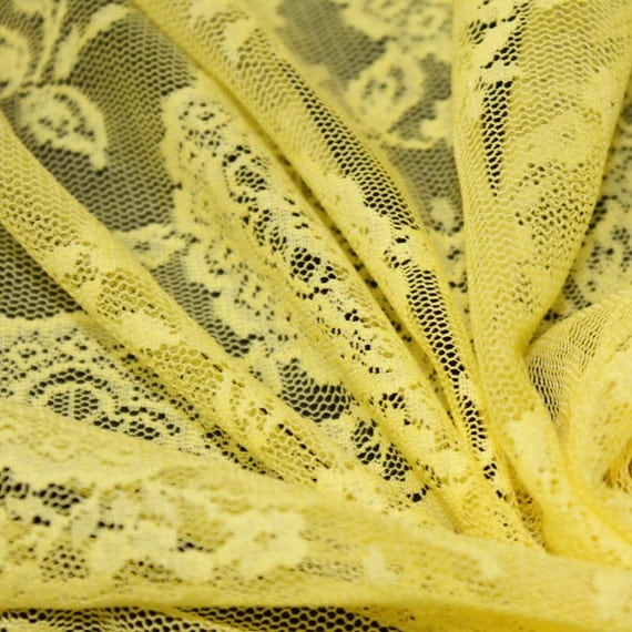Yellow oasis pattern lace fabric by the yard or wholesale for Cheap fabric by the yard