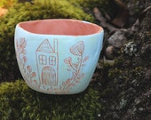 Mini Planter with Hand Carved Surface / Succulent Pot / Pastel Painted Design / Tinted Slip and Terracotta Small Planter / Micro Pot