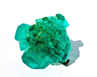 Emerald Brooch with Gold Sparkles, Modern Resin Jewelry Inspired by Nature