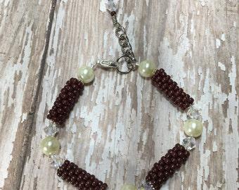 Swarovski pearl bracelet, Oxblood red bracelet