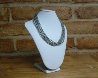 Blacklined clear multistrand seed bead necklace