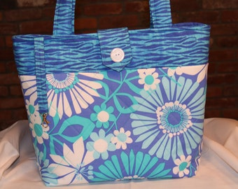 Purple and Teal Quilted Tote Bag