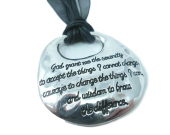 Serenity Prayer Pendant Necklace,  gift idea, Black and Silver, God Grant Me the Serenity, AA, Sobriety gift