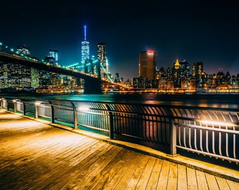 Brooklyn Bridge & Manhattan Skyline at night seen from Brooklyn Bridge Park, New York. | Photo Print, Stretched Canvas, or Metal Print.