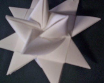 12 White Folded Paper Moravian Star Ornaments