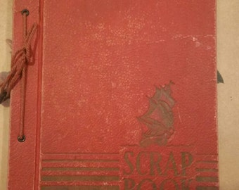 Vintage red scrapbook nautical theme scrapbook album