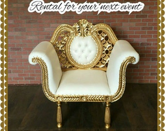 vintage new chair ,furniture,lounge chair, white and gold chair ,