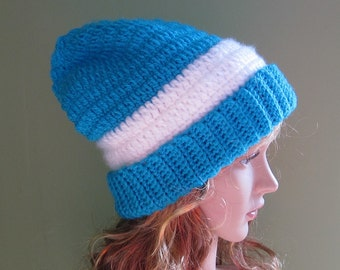 Slouchy Crochet Hat, Turquoise Winter Hat, Slouchy Beanie, Womens Crochet Hat, Mens Slouchy Hat, Womens Slouchy Beanie, Mens Winter Hat