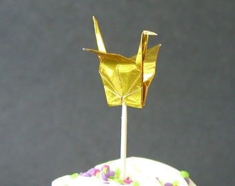 Set of 12 Gold Origami Paper Crane Cupcake Toppers Food Picks