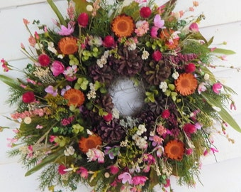"Front Door Wreath ""Contemplation"" Year Round Wreath, Country Cottage Wreath, Wildflower Wreath, Primitive Wreath, Pink Wreath"