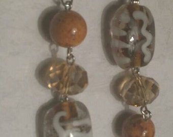 White and Tan Earrings No. 214