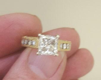 Diamond engagement 2ct Princess cut 18k y/g