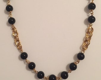 30% DISCOUNT SALE Black and Gold Beaded Trifary Chain Necklace (#2)