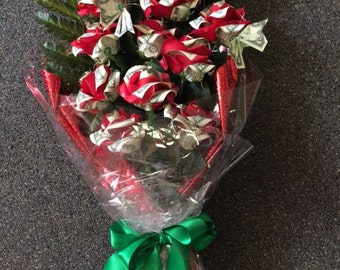 Handcrafted Dozen Money Origami Rose bouquet - Graduation, Wedding, Special Occasion.
