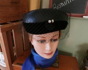 Vintage Pill Box Hat Rhinestones Netting Velvet