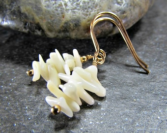 White Coral Earrings, Natural Coral Earrings, Coral Branch Earrings, Gold Filled or Sterling Silver Dangle Earring, Ocean Beach Jewelry Gift