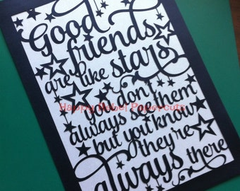 Good Friends typography papercut