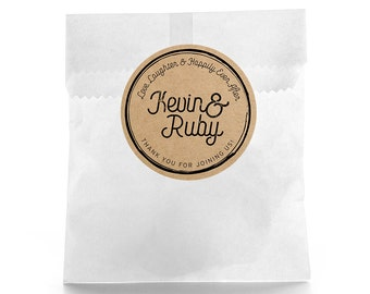 Rustic Wedding Favor Stickers - Personalized Wedding Favor Labels - Wedding Bag Labels - Happily ever after