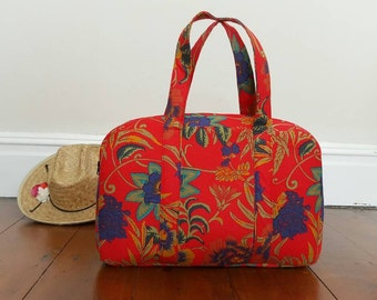 Red handbag red purse, red handbag,  red purse, weekender bag, red bag, overnight bag, handmade handbag