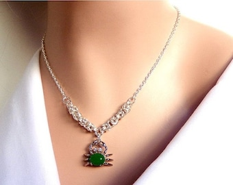 Chainmaille necklace, dyed green quartz, crab design pendant, byzantine chainmaille weave, green necklace, gift for her, holiday gift ideas