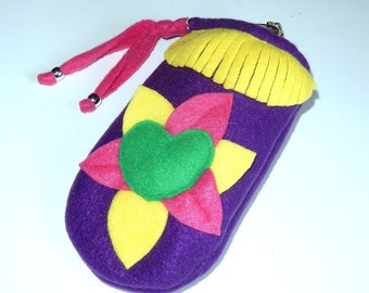 Purple pink yellow and green sunglasses case pouch bag soft fleece fabric drawstring flower design fringe multipurpose bag for women girls