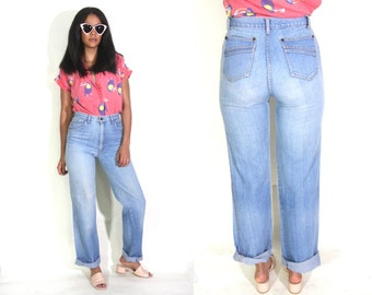 Vintage 70s High Waist Worn In Distressed Denim Blue Jeans Straight Leg Tapered Mom Jeans Hippie Festival