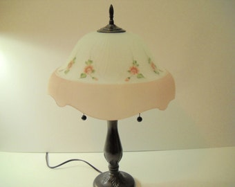 Reverse Painted Lamp Shade SIGNED SILVER  See Pics