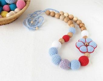 Blue & red nursing necklace, breastfeeding necklace