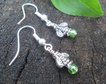 Firefly Earrings sweet and petite silver toned lightening bugs with glass bead tiny dainty pierced summer insect bug