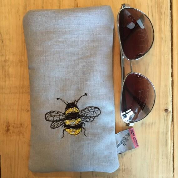 Glasses case- bee design- applique stitched linen