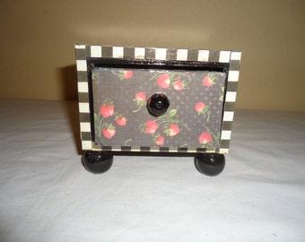 Black and White Wooden Jewelry, Trinket, Keepsake Box