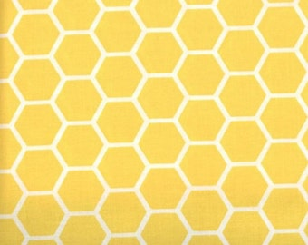 Yellow fabric by the yard - yellow honeycomb fabric - yellow cotton - #15334
